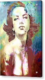 Acrylic Print featuring the digital art Smoking Chick by Greg Sharpe