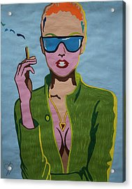 Smoking Woman Sunglasses  Acrylic Print