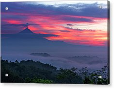 Smoking Volcano And Borobudur Temple Acrylic Print