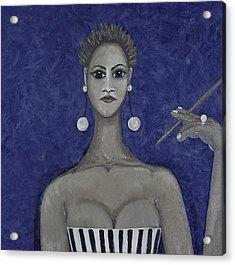 Smoking Woman 3 - Blue Acrylic Print