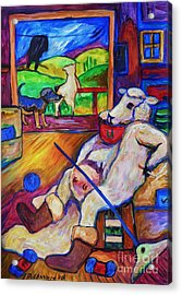 Acrylic Print featuring the painting Smoko At The Sheep Shearing Shed by Dianne  Connolly