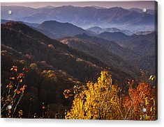 Smoky Mountain Hillsides At Autumn Acrylic Print by Andrew Soundarajan