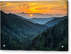 Smoky Mountains Sunset - Great Smoky Mountains Gatlinburg Tn Acrylic Print