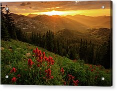Smoky Wasatch Sunset Acrylic Print