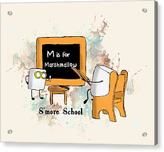 Acrylic Print featuring the digital art Smore School Illustrated by Heather Applegate
