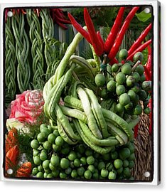 Acrylic Print featuring the photograph Snake Beans. At The Surin Elephant by Mr Photojimsf