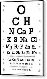Snellen Chart - Chemical Abundance In Human Body Acrylic Print by Martin Krzywinski