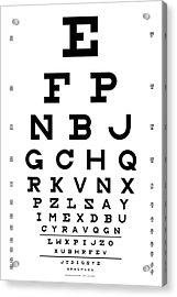 Snellen Chart - Full Alphabet Acrylic Print by Martin Krzywinski