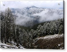 Snow And Clouds In The Mountains Acrylic Print by Larry Ricker