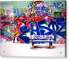 Snow And Graffiti Acrylic Print