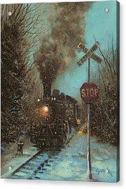 Snow And Steam Acrylic Print by Tom Shropshire