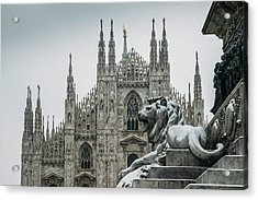 Snow At Milan's Duomo Cathedral  Acrylic Print