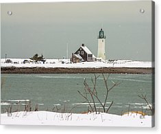 Snow At Scituate Lighthouse Acrylic Print