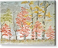 Snow At The Edge Of The Woods Acrylic Print by Fran Hoffpauir