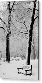 Snow Bench Acrylic Print