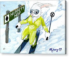 Snow Bunny Skiing Acrylic Print by Mark Ryberg
