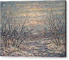 Snow By Brook. Acrylic Print