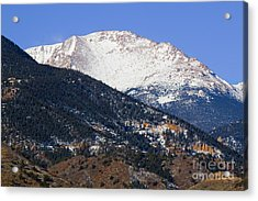 Snow Capped Pikes Peak In Winter Acrylic Print