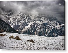 Acrylic Print featuring the photograph Snow Capped Triund Hill by Yew Kwang