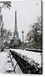 Snow Carpets Benches And Eiffel Tower Acrylic Print