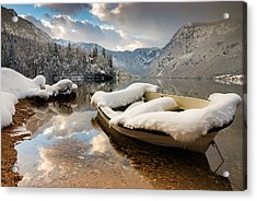 Snow Covered Boat On Lake Bohinj In Winter Acrylic Print