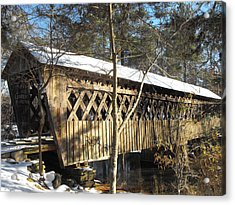 Snow Covered Bridge Acrylic Print by Adam Cornelison