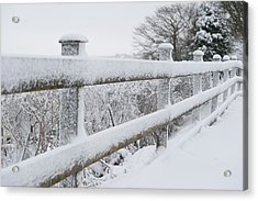 Snow Covered Fence Acrylic Print by Helen Northcott