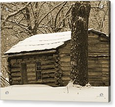 Snow Covered Gardner Cabin Acrylic Print