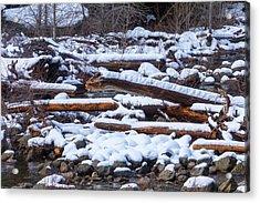 Snow Covered Logs Acrylic Print