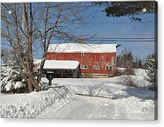Acrylic Print featuring the photograph Snow Covered Masachussetts Barn by John Black