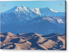 Snow Covered Rocky Mountain Peaks With Sand Dunes Acrylic Print by James BO Insogna