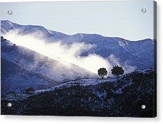 Snow Covered Santa Ynez Mountains Acrylic Print by Rich Reid