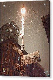 Snow Covered Signs - New York City Acrylic Print by Vivienne Gucwa