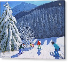 Snow Covered Trees Acrylic Print by Andrew Macara