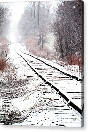 Snow Covered Wisconsin Railroad Tracks Acrylic Print
