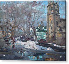 Snow Day At 7th St By Potters House Church Acrylic Print by Ylli Haruni
