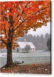 Snow Dust Over Autumn Foliage Acrylic Print by Joann Vitali
