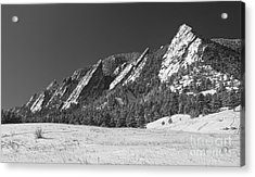 Snow Dusted Flatirons Boulder Co Panorama Bw Acrylic Print by James BO  Insogna