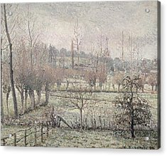 Snow Effect At Eragny Acrylic Print by Camille Pissarro