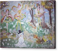Acrylic Print featuring the painting Snow Fairies by Judith Desrosiers