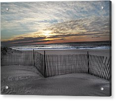 Snow Fence At Coopers Beach Acrylic Print