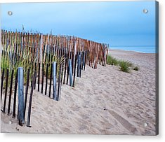 Acrylic Print featuring the photograph Snow Fence On The Beach by Chris Babcock