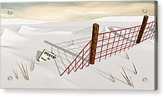 Acrylic Print featuring the painting Snow Fence by Peter J Sucy