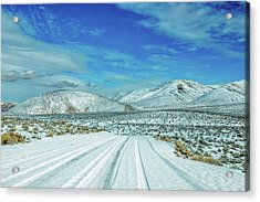 Snow In Death Valley Acrylic Print by Peter Tellone