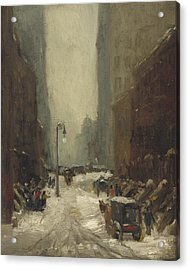 Snow In New York Acrylic Print by Robert Cozad Henri