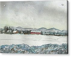Snow In The Berkshires Acrylic Print by Judy Riggenbach