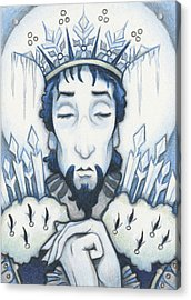 Snow King Slumbers Acrylic Print by Amy S Turner