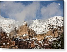 Acrylic Print featuring the photograph Snow Kissed Morning In Sedona, Az by Sandra Bronstein