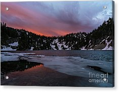 Snow Lake Icy Sunrise Fire Acrylic Print by Mike Reid