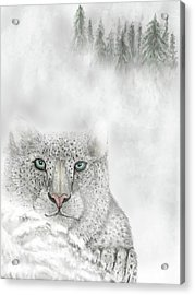 Acrylic Print featuring the digital art Snow Leopard by Darren Cannell